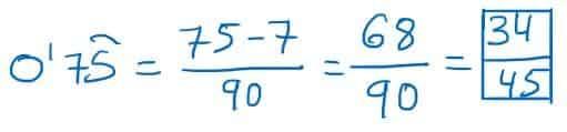 ejemplo de decimal a fraccion
